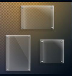 realistic glass plate mockup set vector image