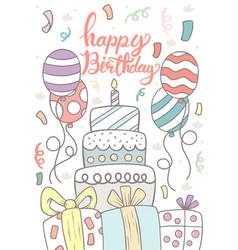 0002 hand drawn happy birthday greeting card vector