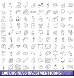 100 business investment icons set outline style vector image