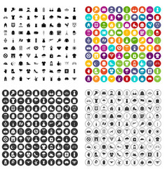 100 clothing icons set variant vector