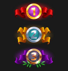 123 place medals icon - game rating icons vector image