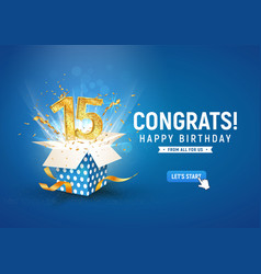 15 th years anniversary banner with open burst vector