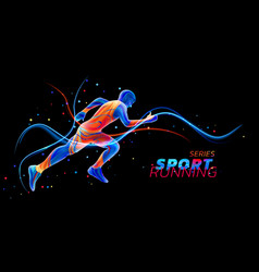 3d runner with neon light lines isolated on vector
