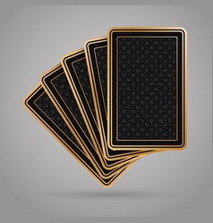 5 poker playing cards in black and gold design vector image