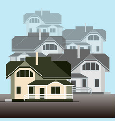 a group of detached houses on a light blue vector image