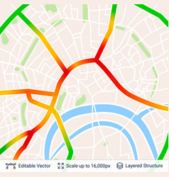 Abstract city plan with traffic jam vector