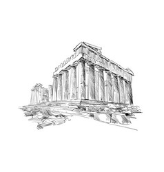 Acropolis of athens the parthenon athens greece vector
