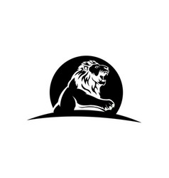 animal profile lion black and white design vector image