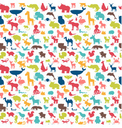 Animals silhouettes seamless pattern cute vector
