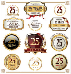 Anniversary golden labels and badges 25 years vector