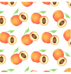 background with juicy peaches whole and half vector image
