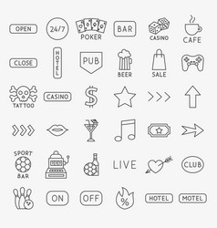 bar signs line icons set vector image