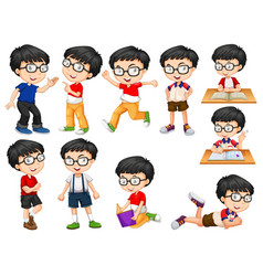 boy doing different actions vector image
