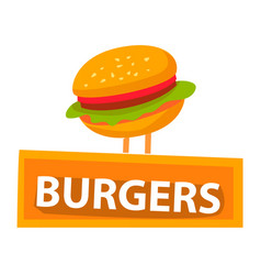 burger with bun and lettuce meat and greenery vector image