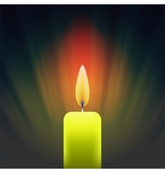 Burning Single Yellow Candle vector image