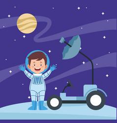 Cartoon astronaut boy and space car vector