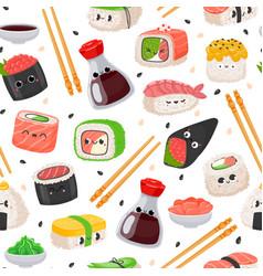 Cartoon kawaii sushi emoji character seamless vector