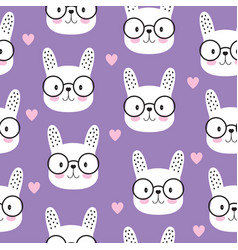 cartoon seamless cute bunny pattern scandinavian vector image