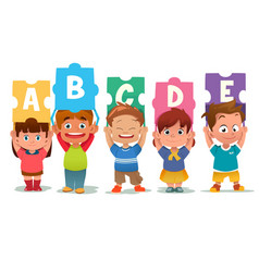 children holding alphabet puzzle cards vector image
