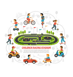 Children racing stadium composition vector