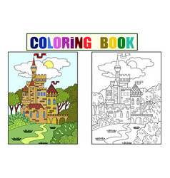 Childs colored picture castle in the forest the vector