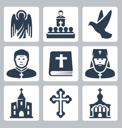christian religion icons set vector image
