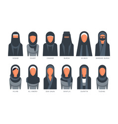 Collection muslim traditional hijab type models vector