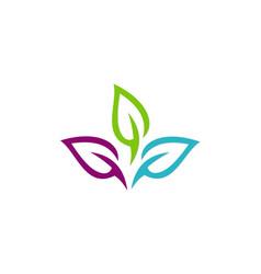 Colorful leaf organic logo vector