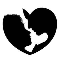couple faces heart silhouette vector image