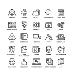 Creative process and tools line icons set vector