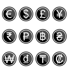 Currency symbols icons simple black-colored set vector