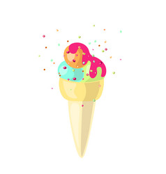cute cartoon ice cream cone with ice-cream vector image