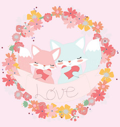 cute couple fox cartoon in the flower frame vector image