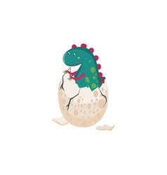 cute dinosaur hatching from an egg vector image