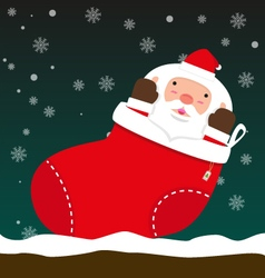 Cute fat big Santa Claus come out of Christmas vector