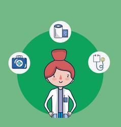 cute female doctor cartoon vector image