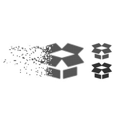 decomposed pixel halftone open box icon vector image