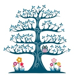 Decorative blue tree silhouette vector image