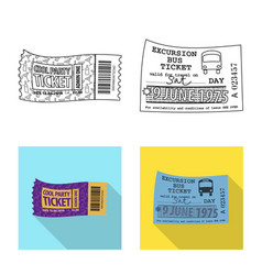 Design of ticket and admission icon set of vector