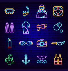 Diving neon icons vector