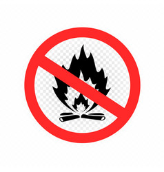 do not make camp fire sign icon vector image