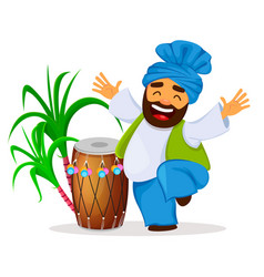 Drum sugarcane and funny dancing sikh man vector