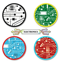 Electronic circuit set round-icons vector