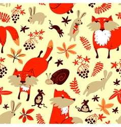 Fall season background with fox rabbit mouse vector