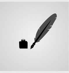 Feather pen ink vector