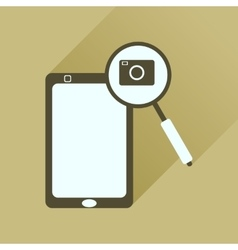 Flat icon with long shadow mobile phone camera vector