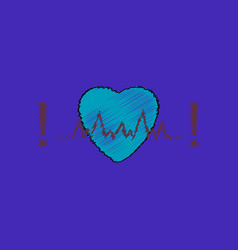 Flat shading style icon heart with cardio vector