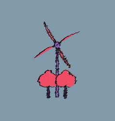Flat shading style icon wind turbines vector
