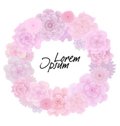 flower wreath with blooming pink roses isolated vector image