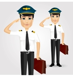 friendly pilot with briefcase saluting vector image